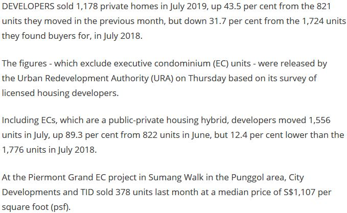1,556 private homes including EC units sold in July, up 89% from June URA