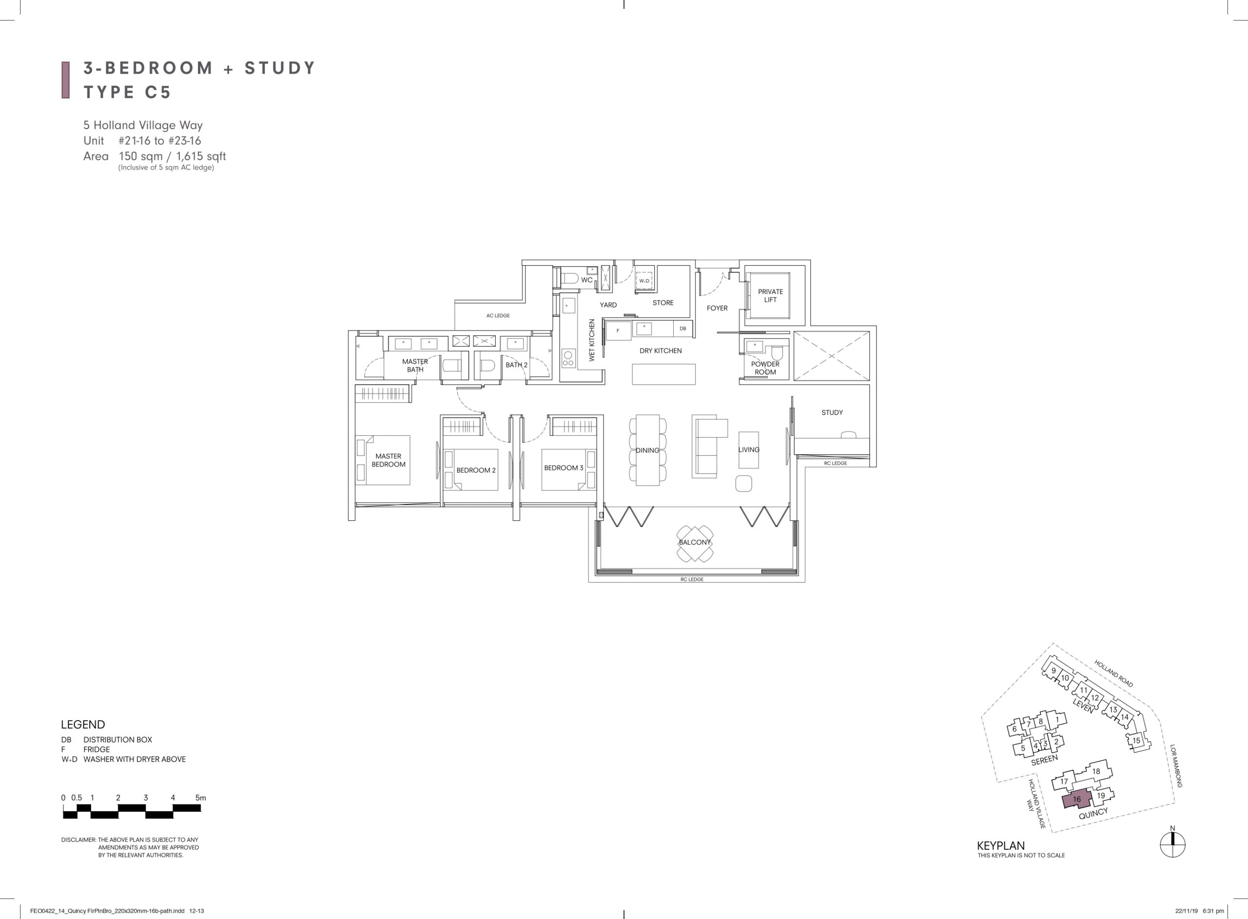 One Holland Village Residences Singapore Quincy Floor Plan 3 Bedroom Study C5 One Holland Village Residences